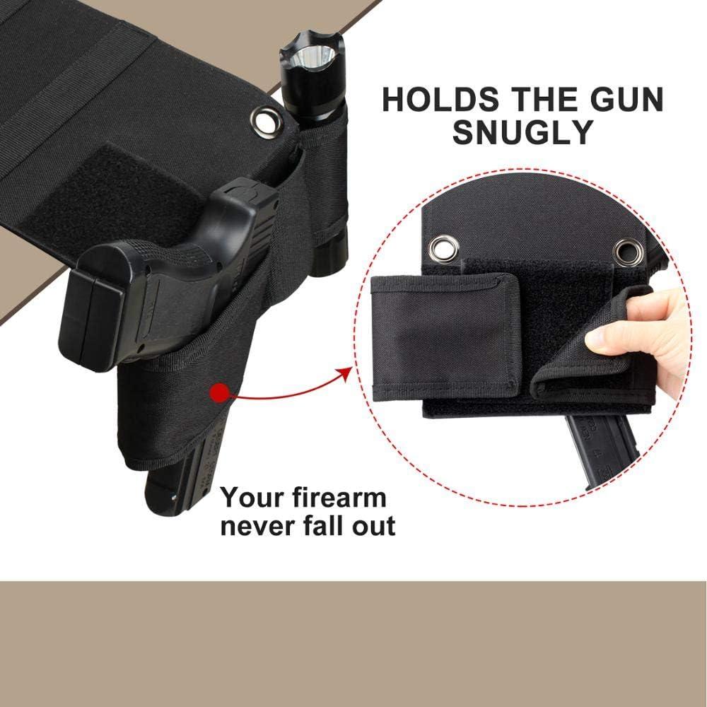 Gexgune Pistola Fondina Materasso Nero Comodino Auto tattico per Beretta 92 Glock 18 19 26 1911 9mm Fondina 2 Colori opzionali