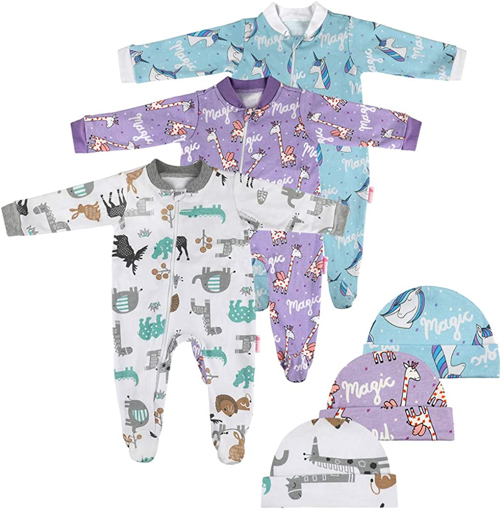 Lictin 6 Piezas Pijama para Bebé- Mameluco de Algodón con Cremallera con Puntos de Pegamento Antideslizantes para Pies, Pintura de Animal para Bebes de 0-3 Meses,3-6 Meses,6-10 Meses