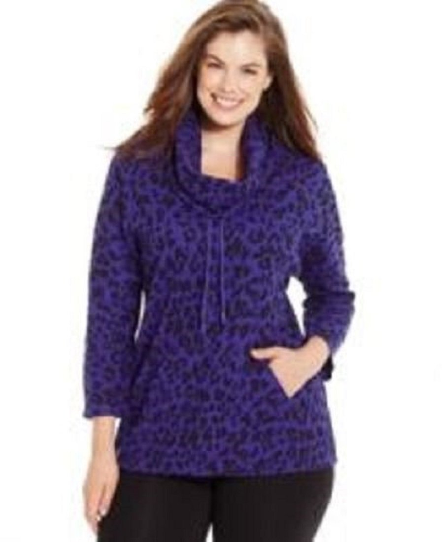Style & co. Sport Plus Size Printed Cowl-Neck Thermal Hoodie (2X, Prism Purple)