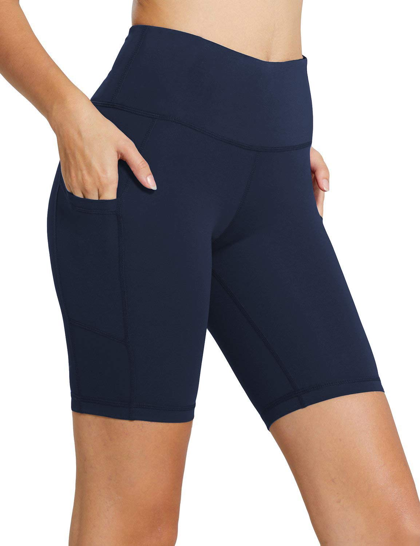 MYIFU Women's Solid Stretch High Waist Board Shorts Training Bike Sport Swim Short (Small, Dark Blue-2)