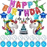 Rainbow Unicorn Birthday Party Supplies, Happy Birthday Decoration Set With Birthday Cake Five & Four-Pointed Star Foil Balloon Pink And Colorful Latex Balloons, Full Birthday Set 39PCS For Unicorn Bi