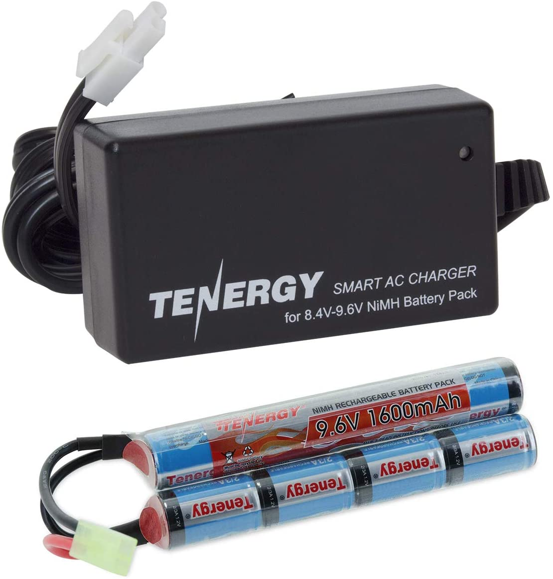 Tenergy 9.6V Airsoft Battery 1600mAh NiMH Nunchuck Battery w/Mini Tamiya Connector for Airsoft Guns M4, Crane Stock, M110, SR25, M249, M240B, G36, M14, RPK, PKM, L85, AUG, G3 (Optional Charger)