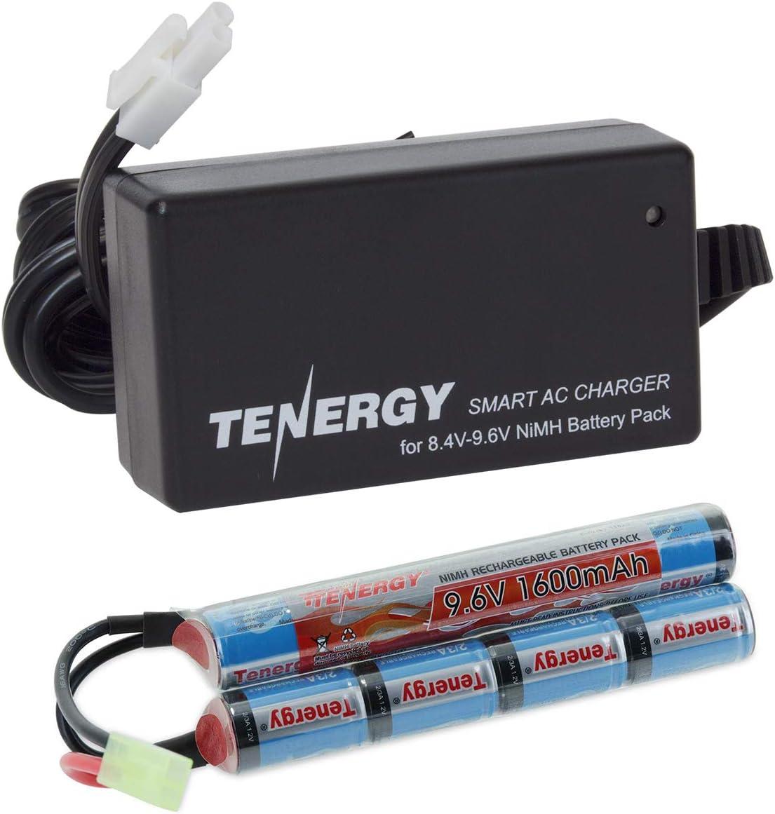 Tenergy 9.6V Airsoft Battery 1600mAh NiMH Nunchuck Battery w / Mini Tamiya Connector para Airsoft Guns M4, Crane Stock, M110, SR25, M249, M240B, G36, M14, RPK, PKM, L85, AUG, G3 (Cargador opcional)