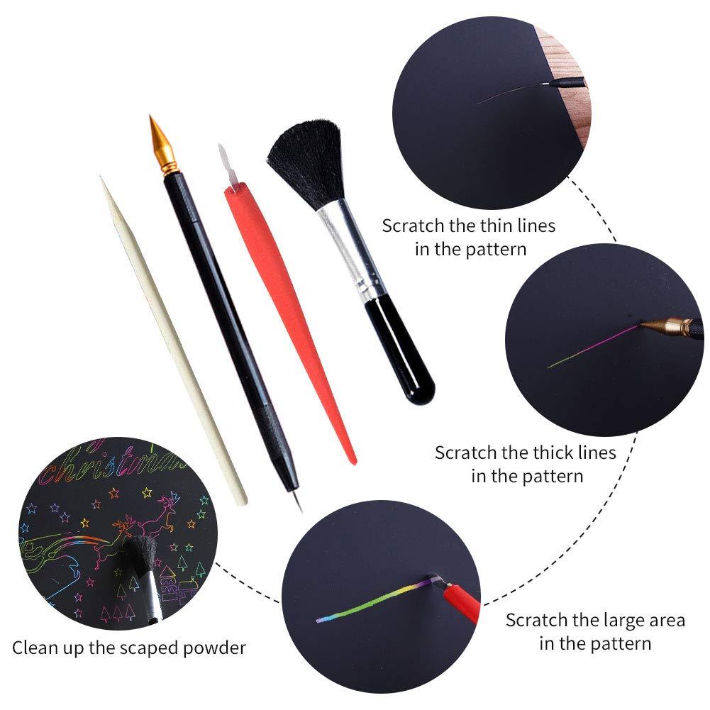 KXCOFTXI 50 Pack Black Rainbow Scratch Paper Rainbow Scratch Art Kits with 8 Styles Tools,11 x 8.5 Size