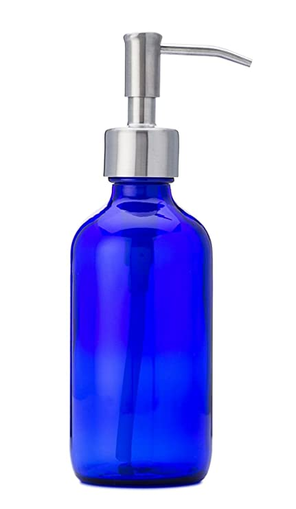 jarmazing productos Petite azul cristal dispensador de jabón y loción con bomba de acero inoxidable –