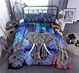 CocoQueen Bohemian Elephant Exotic Pattern Duvet Cover Set 3pcs (1 Duvet Cover 2 Pillowcase) Bedding Set Full Size, Multi Blue