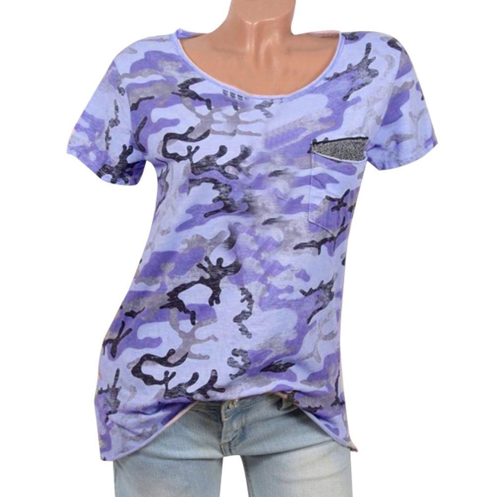 Sommer T-Shirt Damen Forh Casual Tank Tops Lose Hemd Kurzarm Bluse mit Tasche Mode Camo Gedruckten Oberteile Coole Shirts Weste Backless Rundhals Tunika Tops