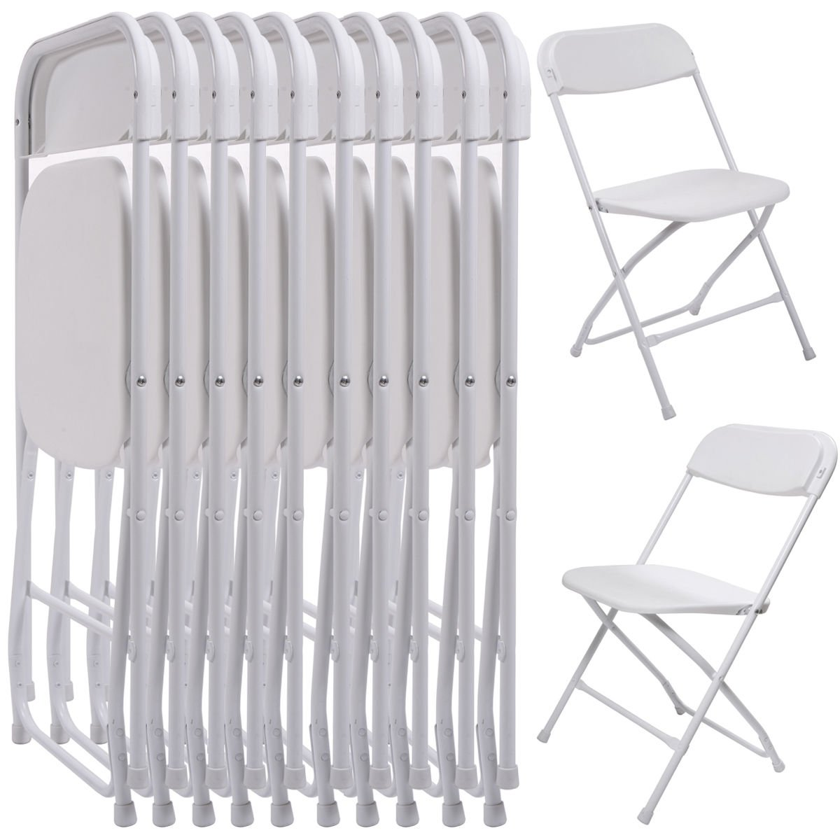 Lounge Chair Restaurant Chairs White Rent Chair Activities Rest Eat Commercial Wedding Stackable Plastic Quality (10 Pack) for Parties, Banquets, Sporting Events, Graduations, School Functions by Heavens Tvcz