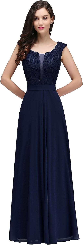 MisShow® Damen Elegant A-Linie Chiffon Abendkleid Ballkleid Cocktailkleid lang EU 32-46