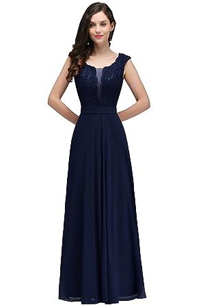 MisShow® Damen Elegant A-Linie Chiffon Abendkleid Ballkleid Cocktailkleid  lang EU 32-46: Amazon.de: Bekleidung