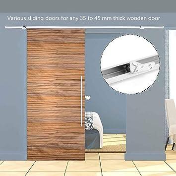 Homgrace - Barra de acero inoxidable para colgar puertas correderas de granero (2 m, para puertas interiores de madera), color plateado: Amazon.es: Bricolaje y herramientas