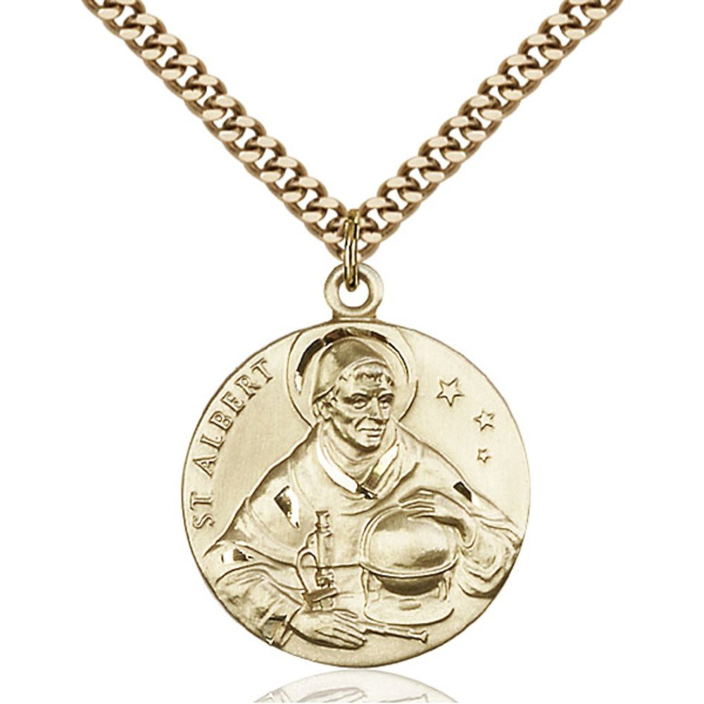 Gold Filled St. Albert the Great Pendant 1 x 7/8 inches with Heavy Curb Chain by Bonyak Jewelry Saint Medal Collection