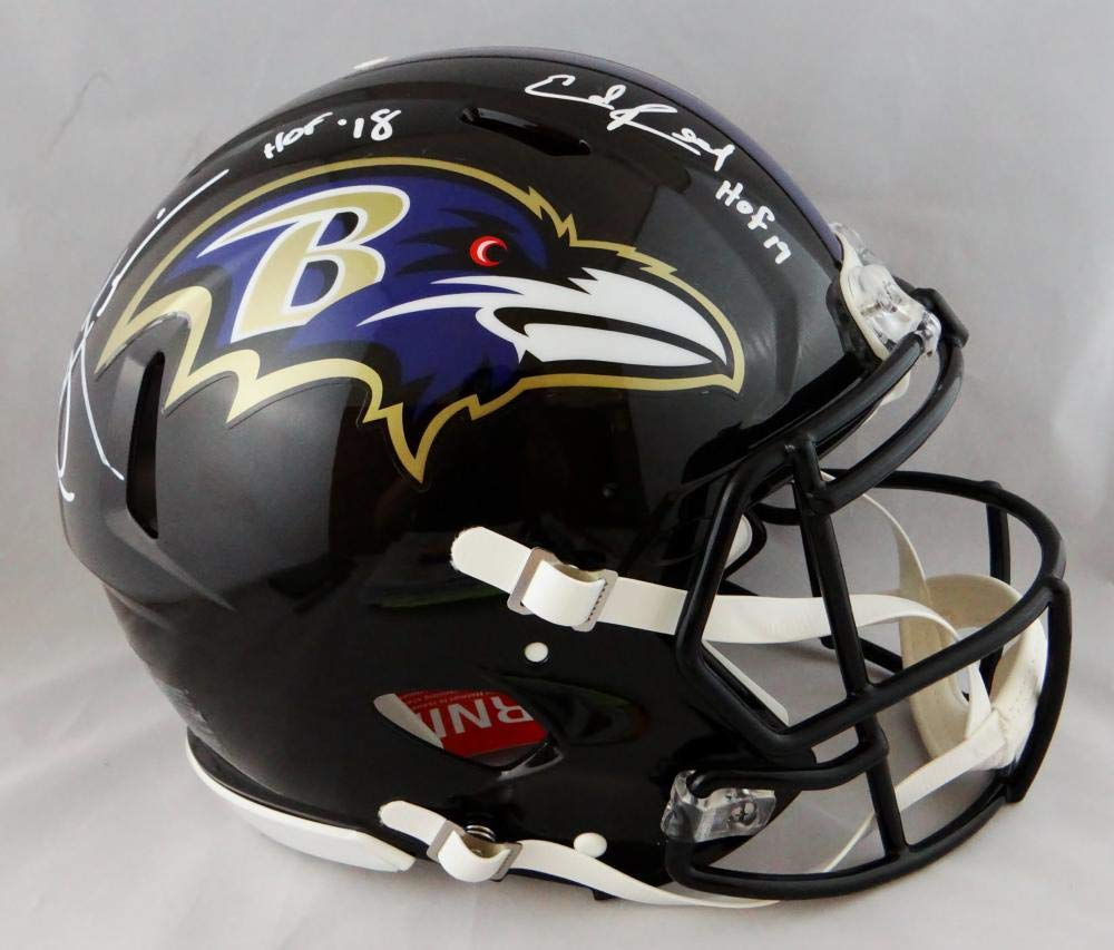 2501f6c22 Amazon.com: Ed Reed Ray Lewis Signed Baltimore Ravens F/S Speed Authentic  Helmet w/HOF- Beckett Auth White: Sports Collectibles