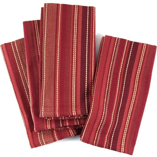 UPC 029441041090, Red Stitches And Stripes 100% Cotton Dinner Napkins, Set Of 12
