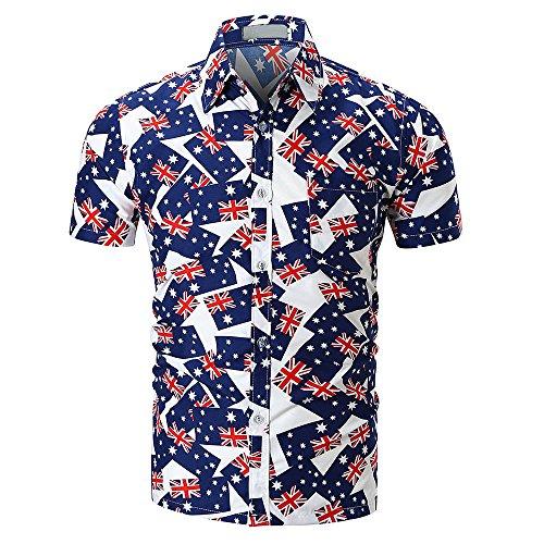 COOKI Mens Shirts Short Sleeve Casual Tropical Print T-Shirt Summer Button Down Shirts Beach Hawaiian Shirt (H, L) (Aloha Flannel)