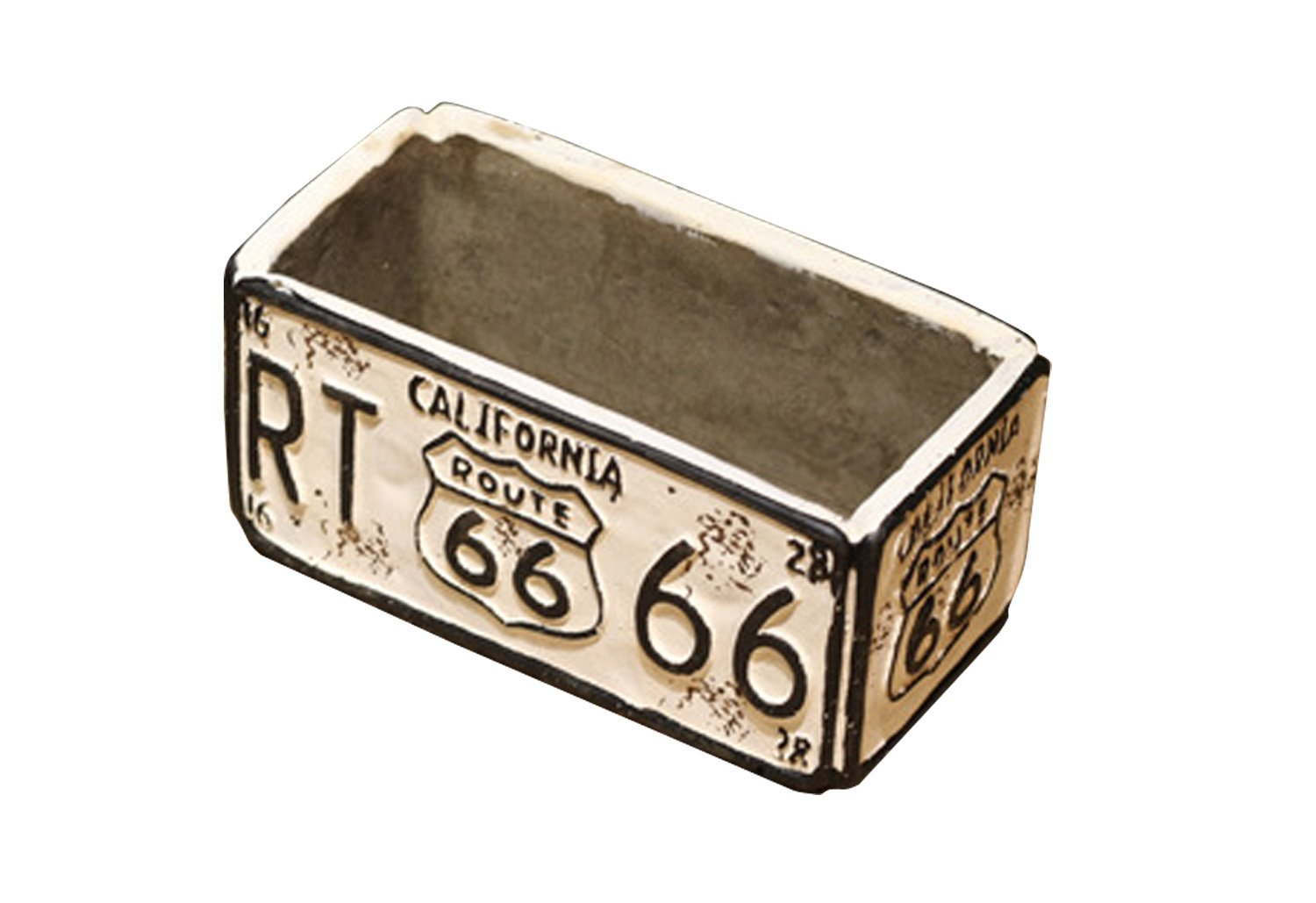 Lependor Retro Route 66 Car Plate Ashtray Succulent Pot for Home Office Decorative Ornament- Blue