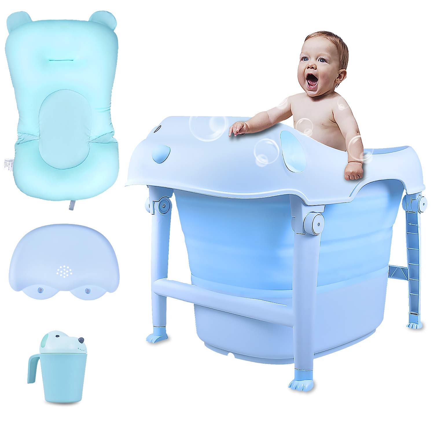 Larcenciel Collapsible Bathtub with Soft Bath Pillow /& Lounger 29.13x19.68x21.26inch Blue Baby Bathing Tub Portable Foldable Thickened Shower Basin for Infants Kids Aged 0-10 Years Old