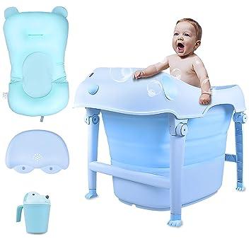 Amazon.com: Bañera plegable con suave almohada de baño y ...