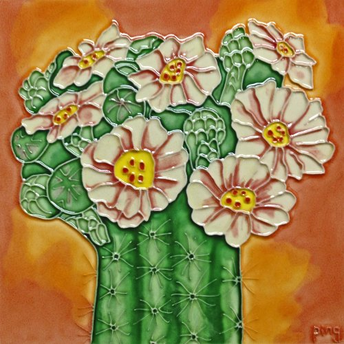 Continental Art Center BD-2188 8 by 8-Inch Cactus with White Flowers Ceramic Art Tile