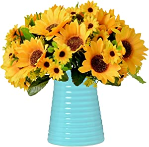 Fall Artificial Flower Centerpieces,Fake Silk Sunflower with Ceramic Vase, Vases with Flowers for Home, Kitchen or Office Decoration (Blue Ceramic)