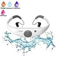 Waterproof Mp3 Player Earphones,Tayogo 2017 Upgraded 8GB Swimming Headset Under Water Music Player for Swimming,Surfing,Diving-White