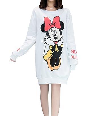 baskets pour pas cher en stock le magasin Haroty Femme Robe Pull Automne Hiver Grande Taille Manches Longues Coton  Cartoon Mickey Imprimé Casual Fluide Tunique Sweats