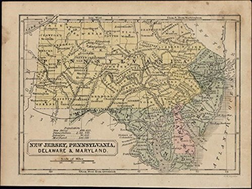 Amazon.com: NJ PA DE MD east coast USA c.1855-60 scarce Boynton old ...