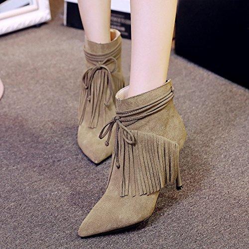 con boots opaca 120W 120W 120W dopo gli tacchi delle in nappa nappa nappa KHAKI a punta 120W donne stivali alti temperamento pelle cerniera NSXZ ankle a7nqwZ4q