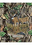 NEW DESIGN REAL TREE COTTON FABRIC BY SYKEL-REAL TREE CAMOUFLAGE DEER QUILT PANEL IN FORREST-SOLD BY THE PANEL