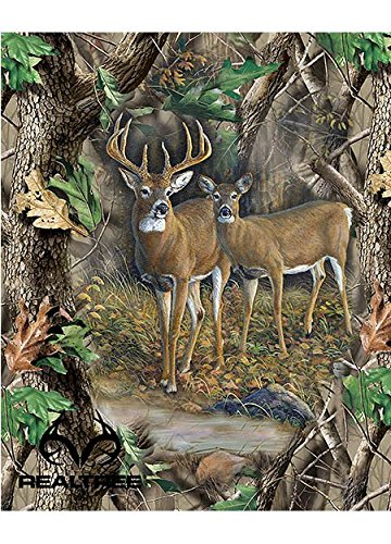 - New Design Real Tree Cotton Fabric by SYKEL-Real Tree Camouflage Deer Quilt Panel in Forrest-Sold by The Panel