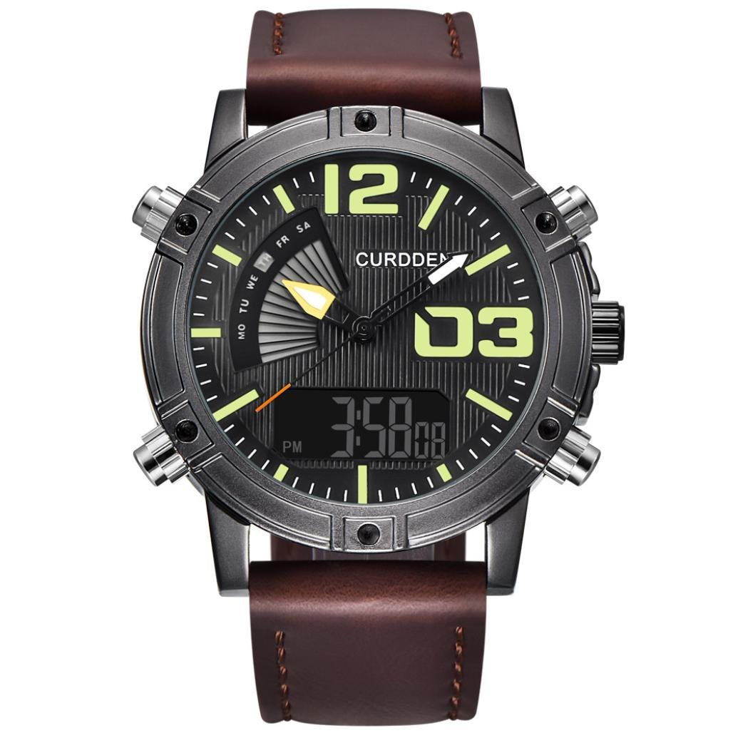 SUKEQ Fashion Men Luminous Quartz Watch Army Military Leather Band Chronograph Alarm Watch Waterproof Sport Wristwatch CURDDEN Watch (Coffee)