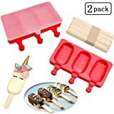 Sakolla Pack of 2 Silicone Easy Cream Mini Ice Cream Bar Mold Set, 3 Cavities Silicone Cute Ice Pop Mold Oval Ice Cream with Lid