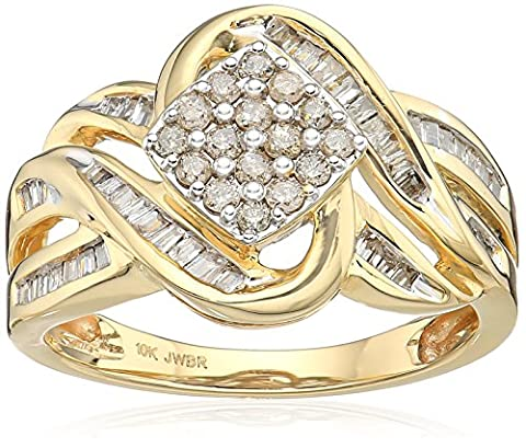10k Yellow Gold Diamond Square cluster Ring (1/2 cttw), Size 7 - 10k Gold Cluster Ring