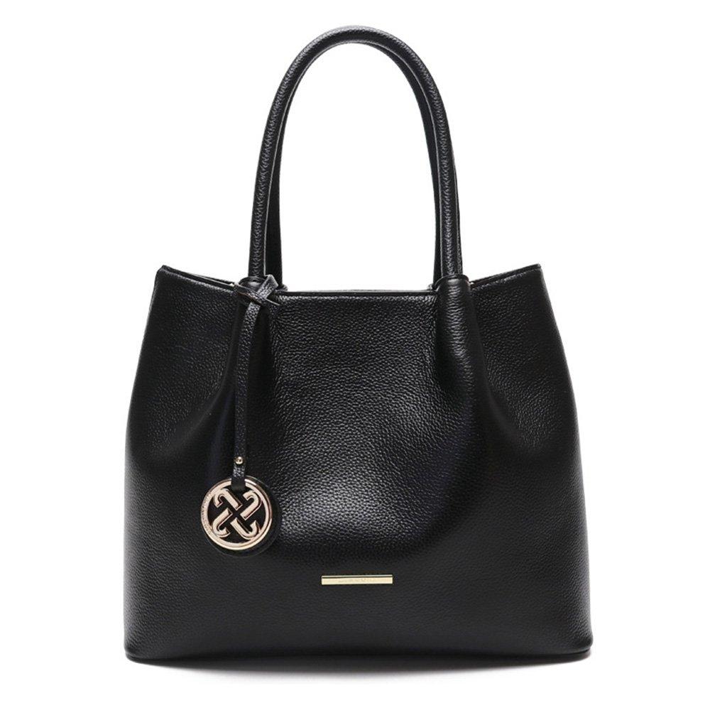 女性のための本革レザートートハンドバッグ2色のリッチーパターンファッションカジュアル大容量 B07FQBPNHS Black