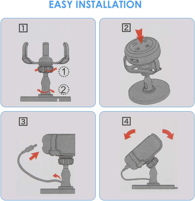 Rehomy Table Holder for Echo Dot 3rd Generation, 360-degree Rotation Table Holder Adjustable Stand Bracket Mount for Smart Home Speaker, Clever Dot Accessories white