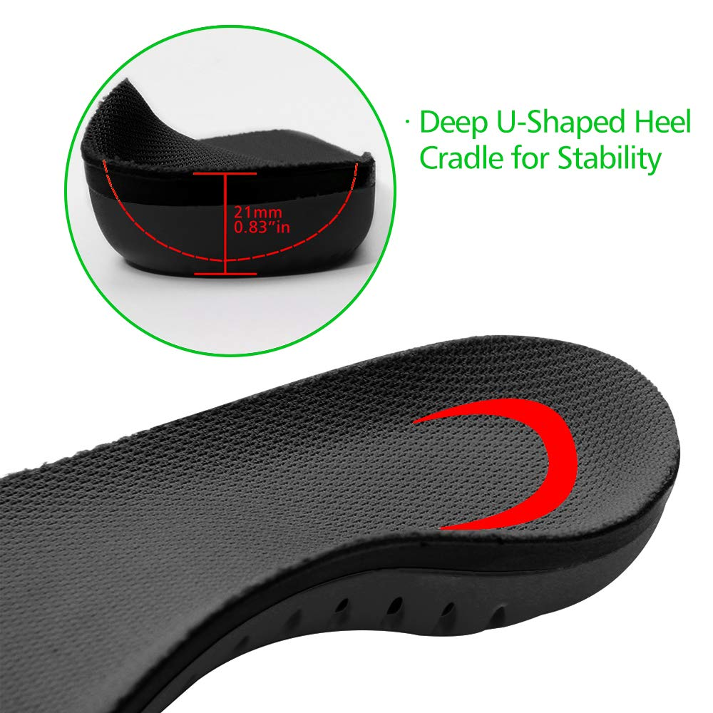Snapsmile Scientifically Proven Plantar Fasciitis Orthotic Inserts - Shoe Insoles for Men and Women Arch Support Shoe Inserts Women Professional Insoles for Flat Feet Relieve Foot Pain - Black, L by Snapsmile (Image #3)