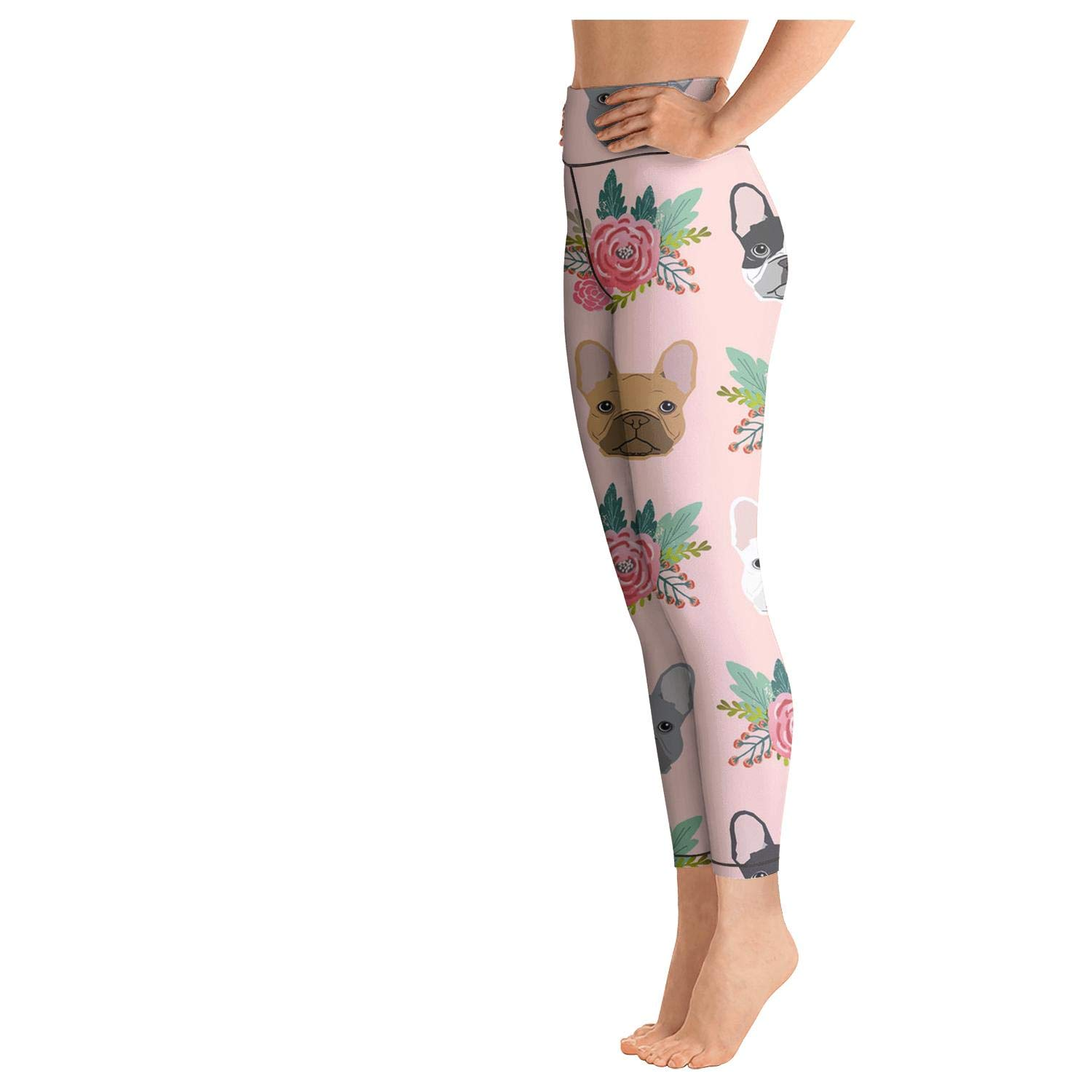 Women Yoga Pants Printed Legging Pink French Bulldog Flowers Florals Outfits Capris