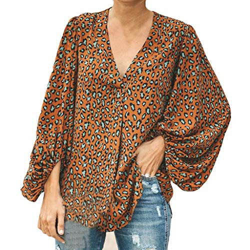 Womens Casual Shirt, Long Sleeve Print Bell Loose Sleeve V-Neck,Fashion Style for Ladies