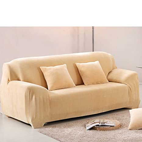 Plush Thick Elastic Sofa Slipcover,Solid Color Stretch Couch Covers  Armchair Leather Sofa Cover Pure