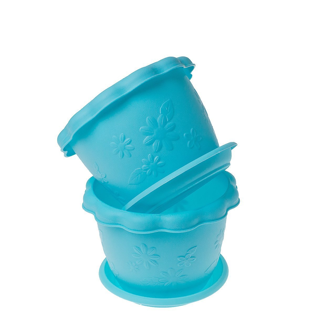 Saim Plastic Plant Pot, Stylish Garden Nursery Plant Planter Holder Pots with Removal Saucer for Flower, Herbs, Transplanting, Seedlings, Pack of 2(Light Blue)