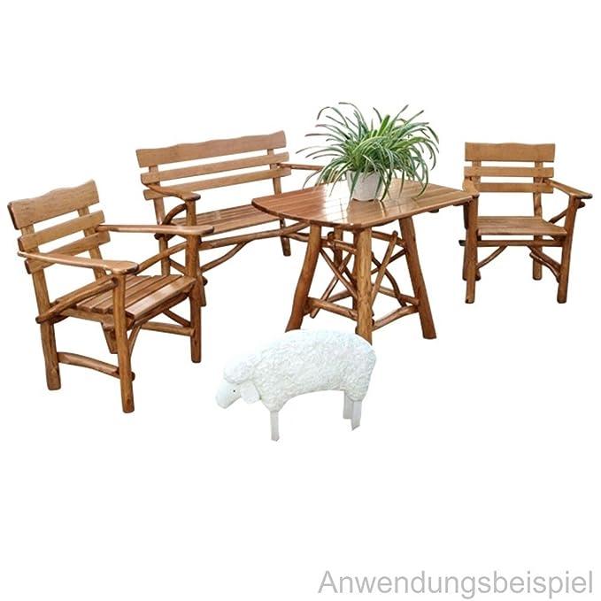 Garten Sitzgruppe 4-tlg Mosel 2-Sitzer Knüppelholz Buche Eiche ...