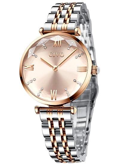Reloj Mujer Relojes de Pulsera Analogico Minimalistas Oro Rosa Acero Inoxidable Impermeable Reloj para Mujeres Moda Fecha Calendario Casual Negocios ...