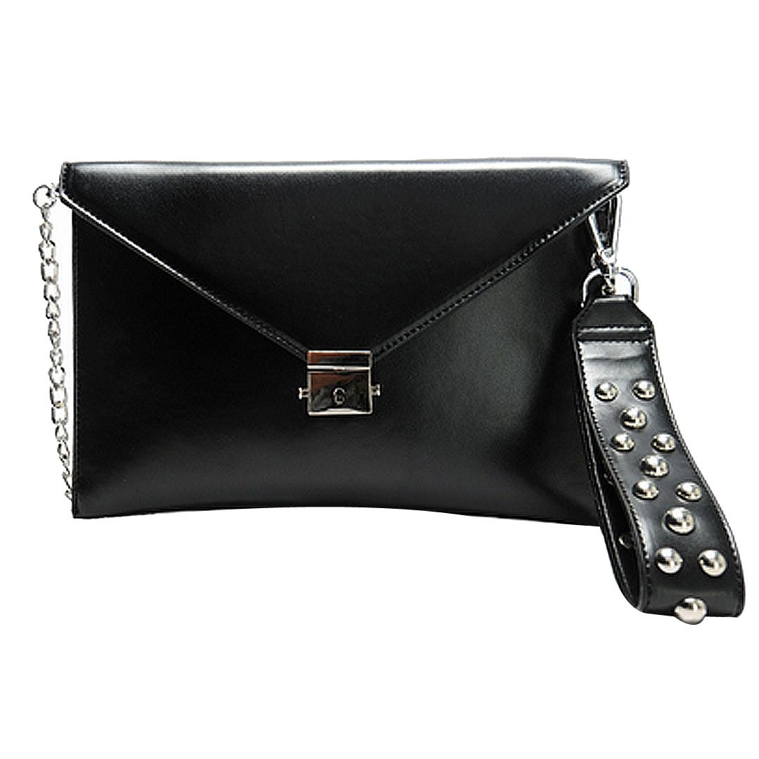 Felice Ladies Punk Rivet Studded Envelope Clutch Handbag Chain Strap Wristlet Shoulder Cross Body Bag Black