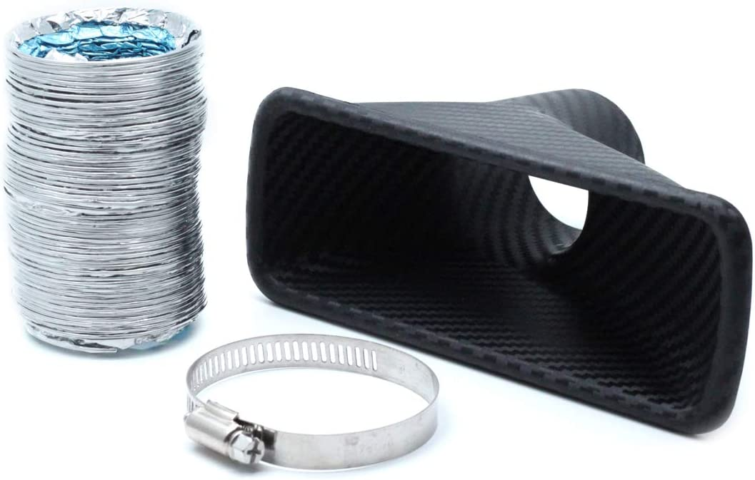 AUTUT Universal Car Air Intake Pipe Carbon Fiber Rectangle Type Air Funnel Kit