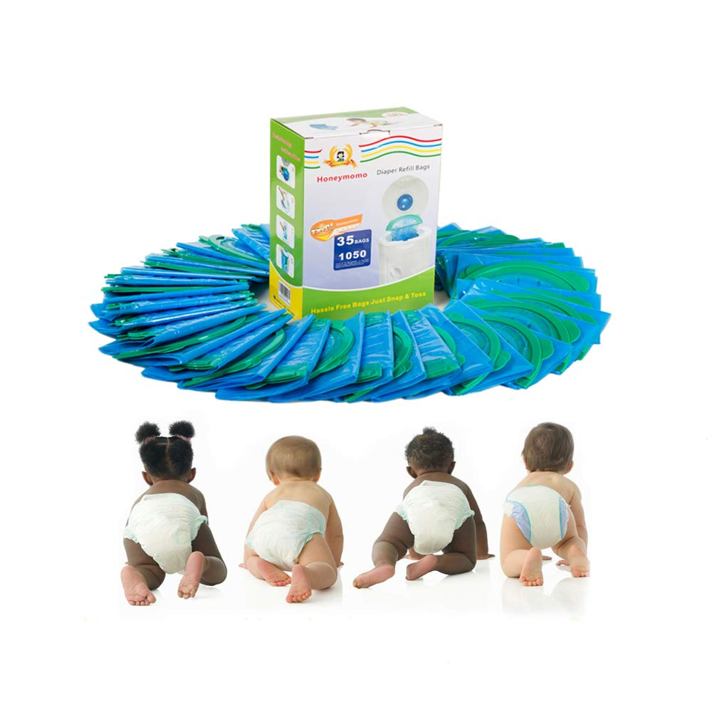 Diaper Refill Bags 35 Packs One Box Baby Bathing with Toss and Hassle Free Blue Bags Green Ring,1050 Count Disposal Snap Seal Diaper Pail Liners,Fully Compatible with Arm&Hammer Disposal (35 Bags)