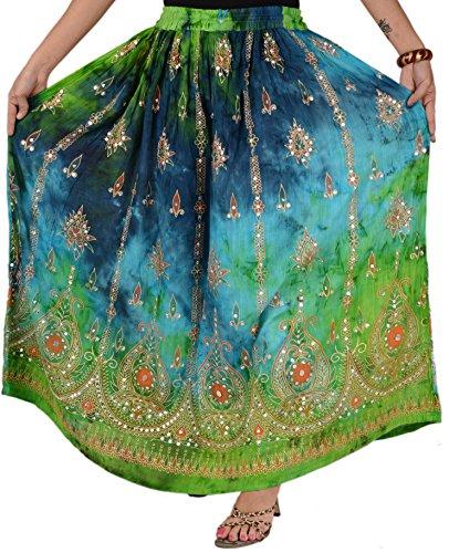 (SNS Rayon Tie Dye Sequin Long Maxi Evening Beach Skirt)