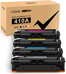 V4INK Compatible Toner Cartridge Replacement for HP 410A CF410A 410X CF410X 4 Packs,for use in HP Color Laserjet Pro MFP M477fdw M477fnw M477fdn M452dw M452dn M452nw M477 M452 M377dw