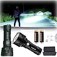 Linterna LED impermeable de alta potencia de 30000-100000 lúmenes, Ultra brillante 3 modos Más potente 50W linterna xlm…