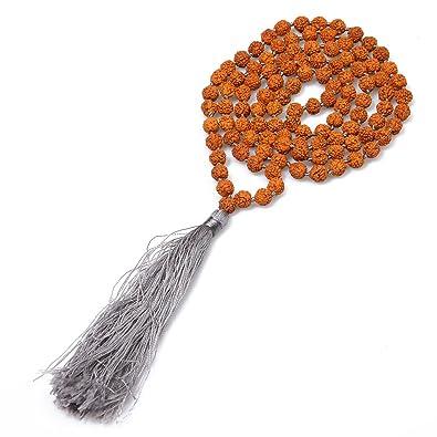 BALIBALI 5 Mukhi 108 Rudraksha Mala Collar de Cuentas Larga ...