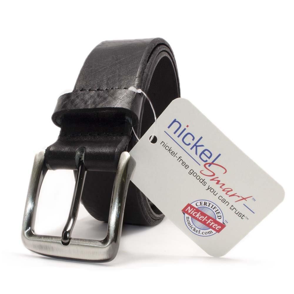 New River Black Belt Nickel Smart Full Grain Leather Belt with Nickel Free Zinc Alloy Buckle